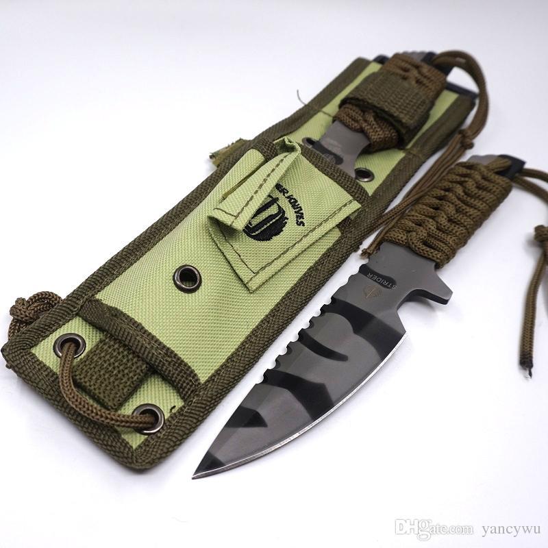 Coltello tipo lama fissa ST Camo Smal 440 Manico in legno esterni Attrezzi caccia di sopravvivenza in campeggio all'aperto Coltellino svizzero