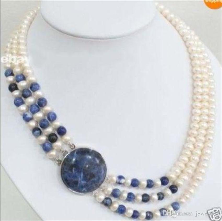 FREE SHIPPING3 Rows 7-8mm White White Cultivation Pearl Lapis lazuli Round Beads Necklace