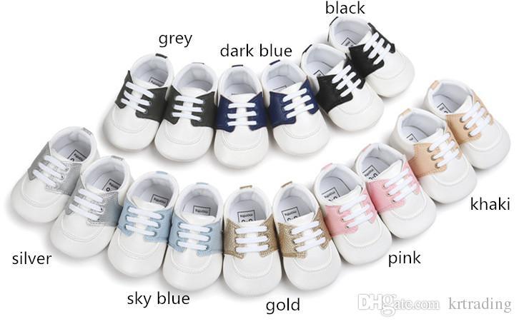 8 cores Bebê pu splicing sola macia crianças bebês meninas moda bonito mocassins esportes pré walkers para 0-2 T