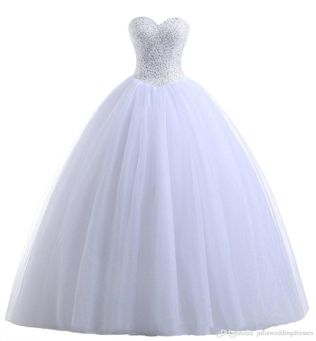 2018 Sexy Blanc Robe De Bal Quinceanera Robes Avec Perles Sweet 16 Robe Dentelle Up Floor Length Détachable Robe pour débutant QC113