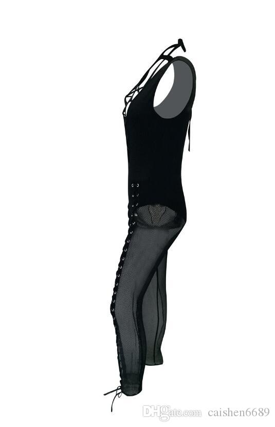 Black Mesh Semi Transparent Combinations Women Jumpsuit 2018 Sexy Women Clothing V-Neck Body Skinny Tights bandage Sleeveless Jumpsuit