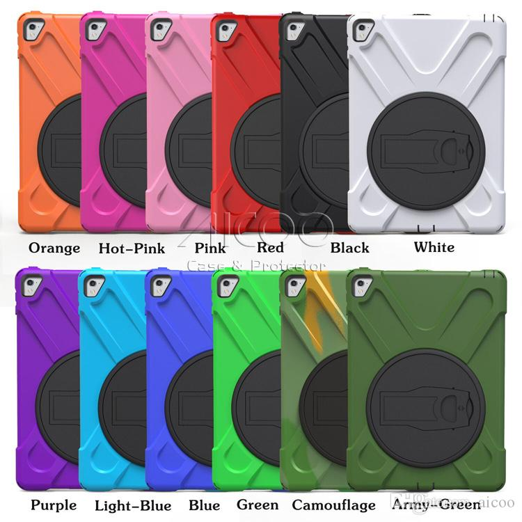 Hybrid Soft Silicone Hard PC With Stand Holder Shoulder Belt for New iPad 2017 2018 iPad Pro 9.7 10.5 11 12.9 Air 2 Samsung Tab fir7 HD OPP