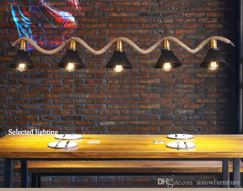 Endüstriyel Aydınlatma Restoran Lambaları 3/5 Kafaları Ferforje Kolye Lambaları Halat Avizeler Aydınlatma Ev Dekor için