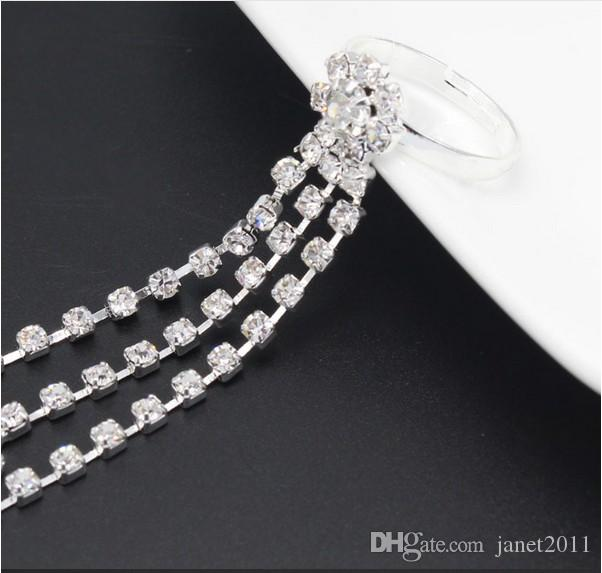 Plage de mariage Bracelets de cheville de mariée ton argent strass Barefoot Sandales Bracelets Pied Sautoirs Bracelets Chaînes femmes Bijoux