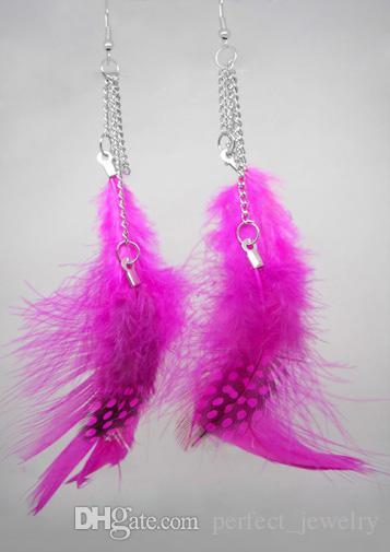 Feather Earrings wholesale Cute Charm Chain Light Dangle Eardrop Hot New  Black White Orange Green Purple Lavender  JF305