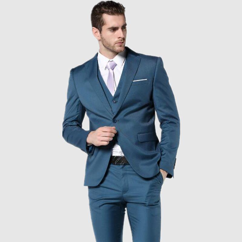 New Arrial 11 style Mens Suit Slim Fit Latest Coat Pant Designs groom Suits tuxedo Blue Wedding Suits For Menjacket+vest+pants