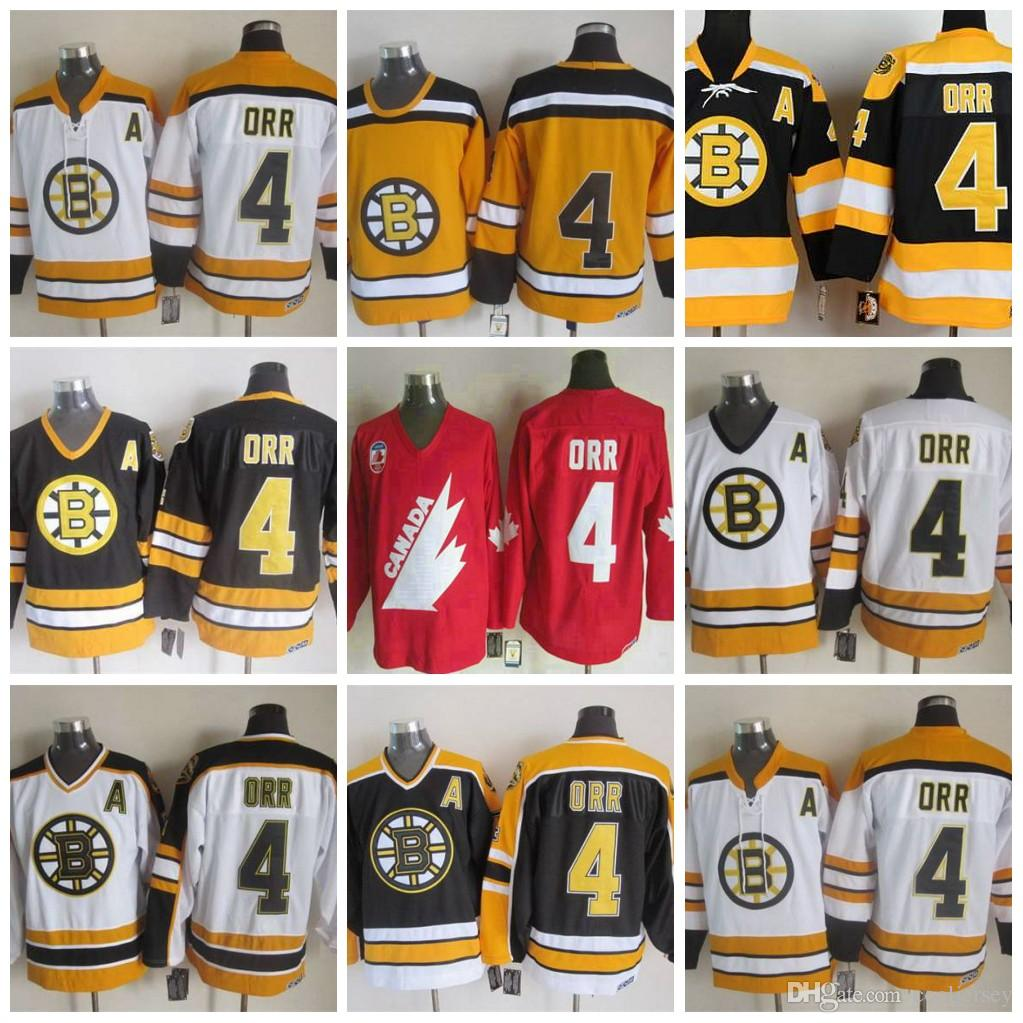 ... 2019 mens ccm boston bruins 4 bobby orr white yellow hockey jersey  authentic orr jerseys vintage ff6b500bb