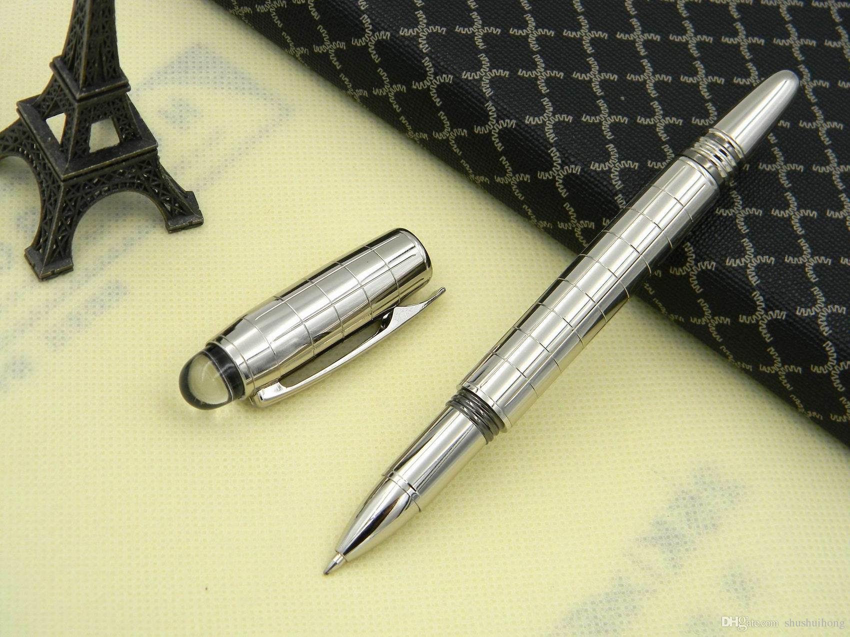 Luxury Silver Checker HOT Rollerball Pen M Crytal Top Metal Roller ball Pens + 3 free pen refills