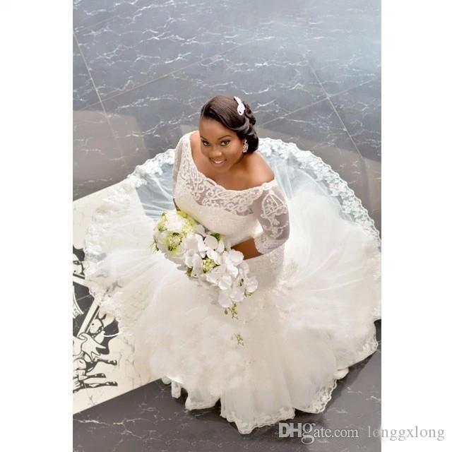 Großhandel Afrikanischen Stil Plus Size Brautkleider Mit 3/4 Lange ...