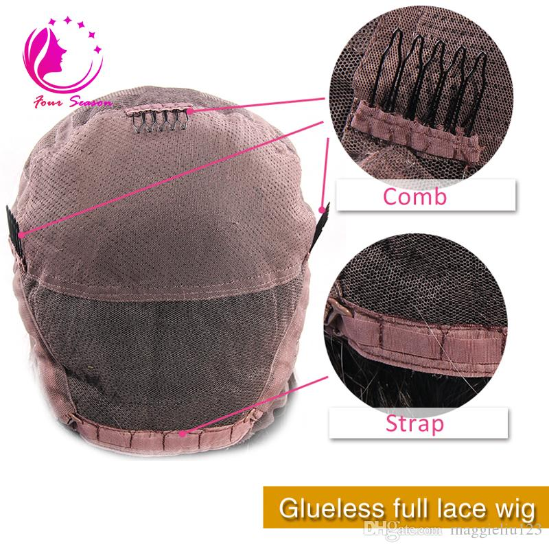 Tam Yoğunluk Bakire Perulu İnsan Saç Tam Dantel Peruk Bebek Saçlı En Kaliteli Uzun Kıvırcık Tutkalsız Saç Peruk Ağartılmış Knot Ile