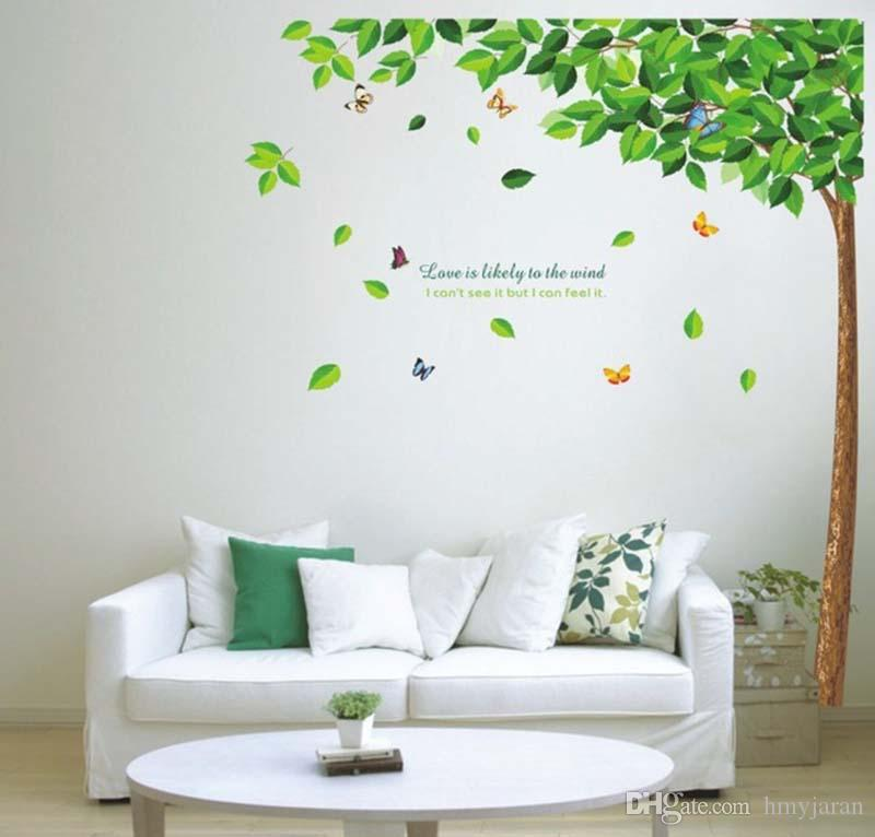 Diy Butterflies Under Green Leaves Tree Removable Wall Decal Sticker Large  Tree Butterfly Wall Stickers Photo Wall Mural Better Than Wooden Design  Your Own ...