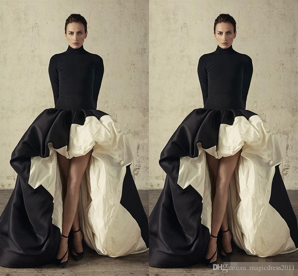 Robes de soirée africaines manches longues et col haut Hi-lo robes de soirée en satin noir et ivoire et volants Taffetas Robe de soirée officielle Robe de soirée