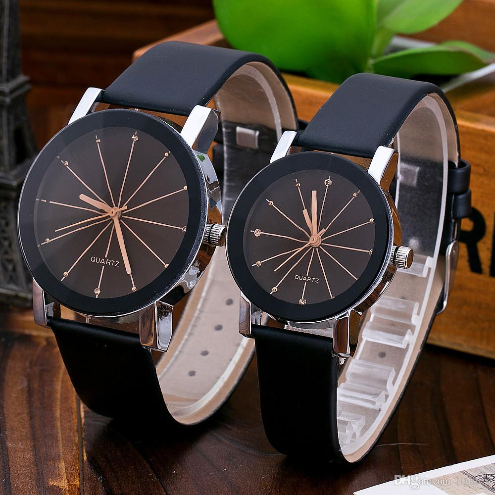 Lover's Watches Reasonable Creative Unisex Leather Strap Watches Men Luxury Brand Men Watch For Lovers Black White Lady Quartz Women Dress Clock As Gift