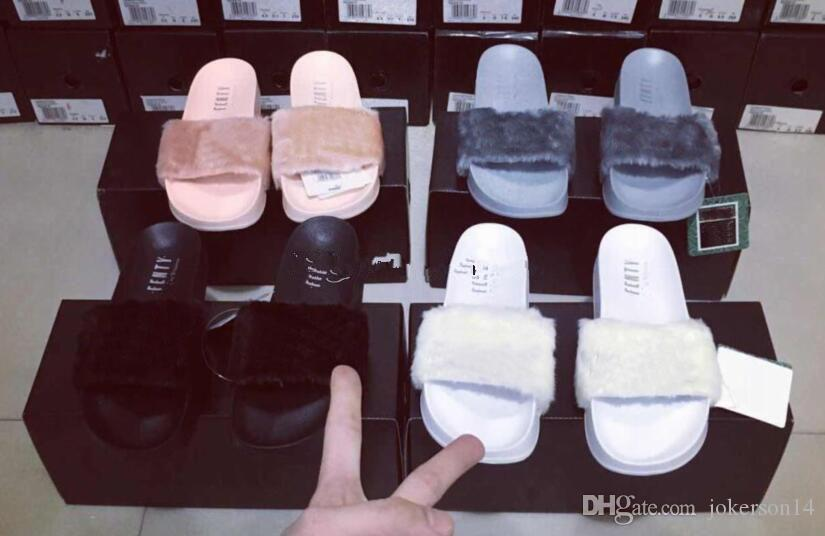 1fc80613c Send With Original Boxes Leadcat Fenty Rihanna Shoes Women Slippers Indoor  Sandals Girls Fashion Scuffs White Grey Pink Black Slide Boys Slippers  Acorn ...