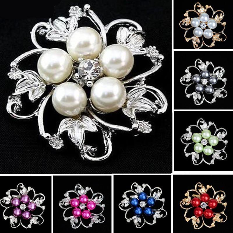 46721800f Fashion Wedding Brooches Silver Pearl Crystal Rhinestone Flower ...