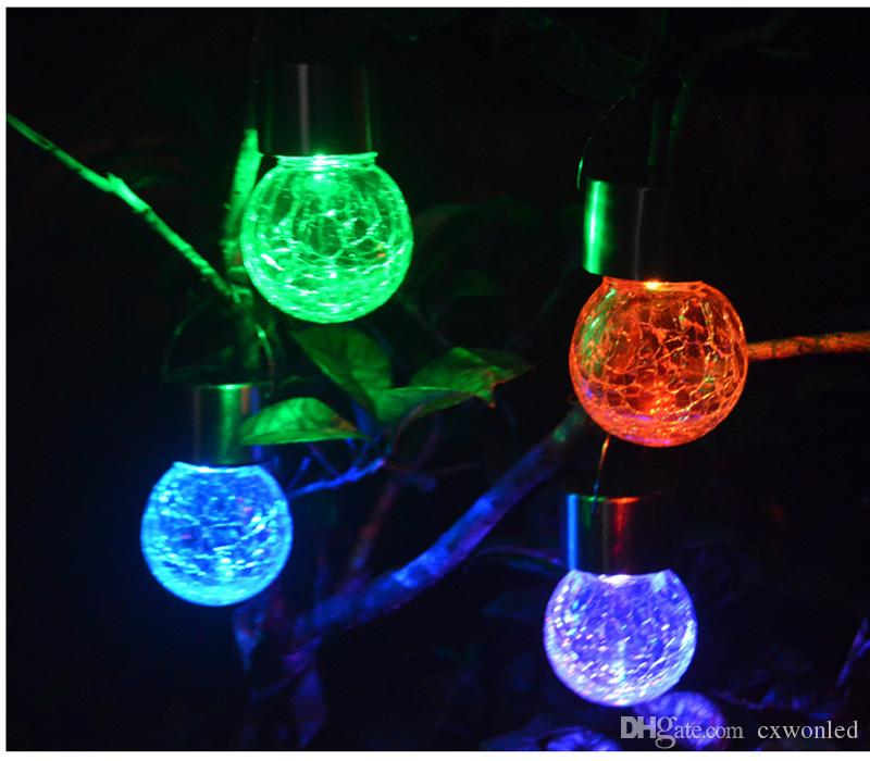 Solar Powered Color Changing outdoor led light ball Crackle Glass LED Light Hang Garden Lawn Lamp Yard Decorate Lamp