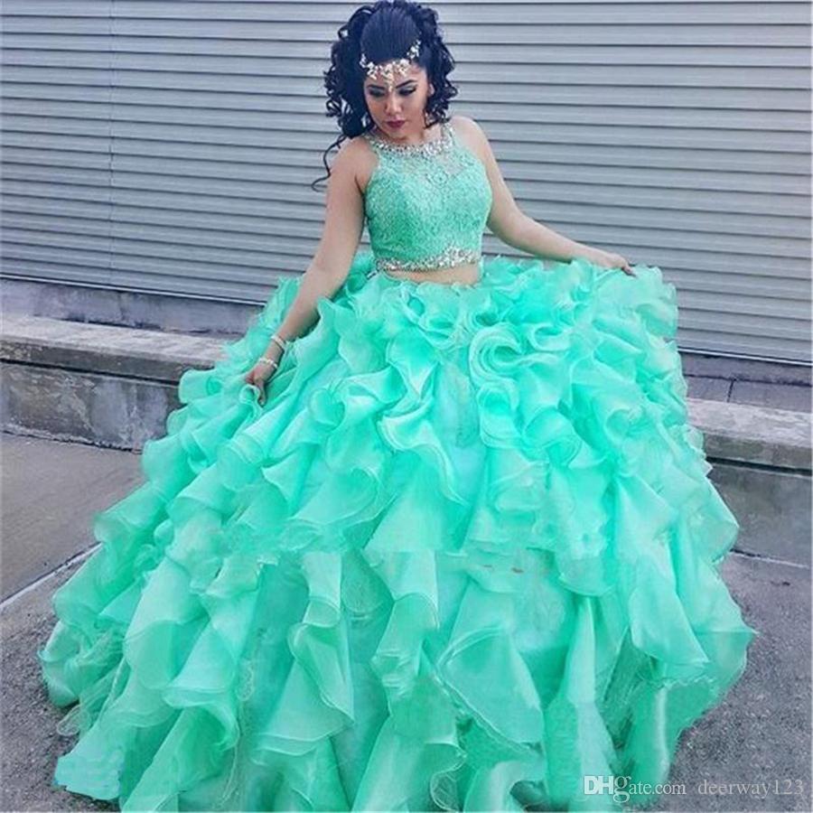 e0723c1fa Compre Vestido Sexy 16 Verde Menta Verde Con Volantes Organza Vestidos De Quinceañera  De Encaje 2 Piezas Vestido De Bola Princesa Puffy Ruffle Masquerade ...