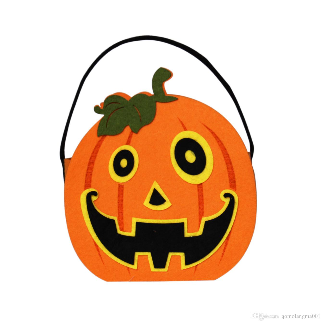 Halloween Pumpkin Candy Bag Trick Treat Cute Smile Basket Face Children Gift Handhold Pouch Tote Bag Non-woven Pail Props Decoration Toy 10