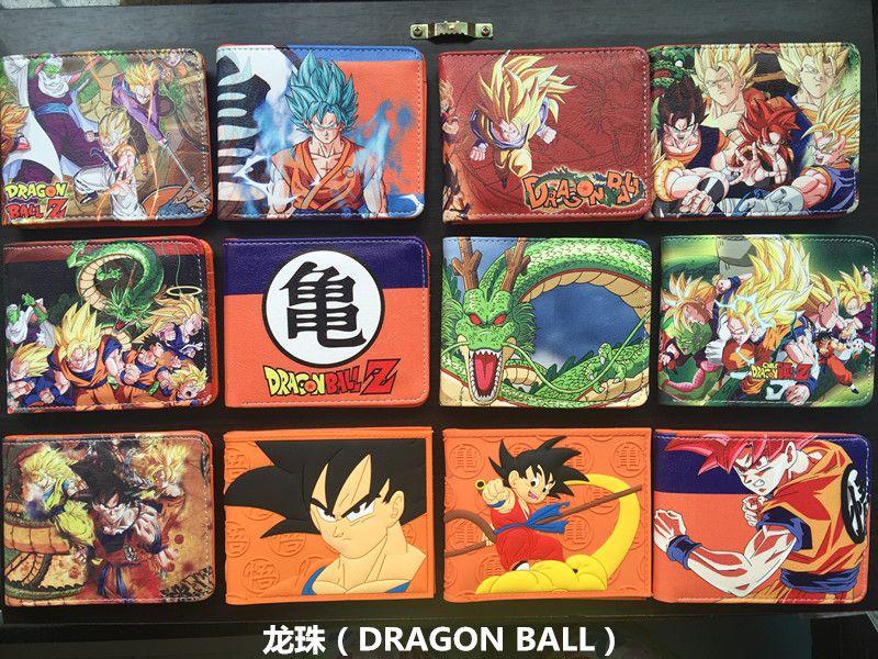 Japanese Anime DRAGON BALL Z Super Saiyan Son Goku Son Gohan PU Short Wallet Purse Colorful Printing