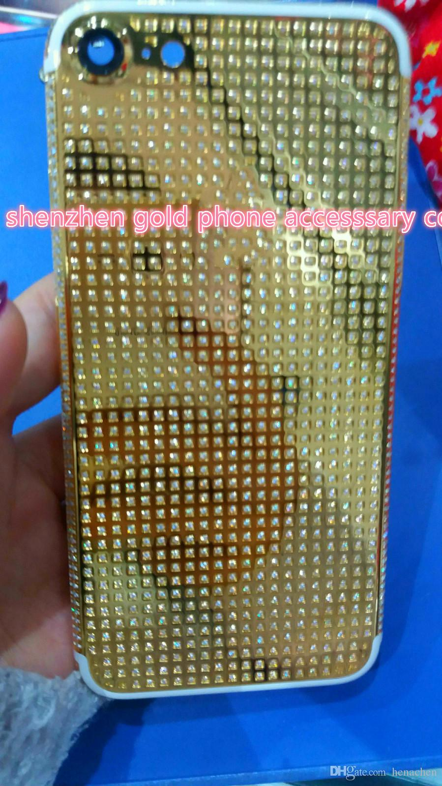 For iphone 7 7 Plus gold housing full diamond,New 24K 24CT 24KT Mirror GOLD Full Diamond Crystals Back Cover Housing Middle Frame