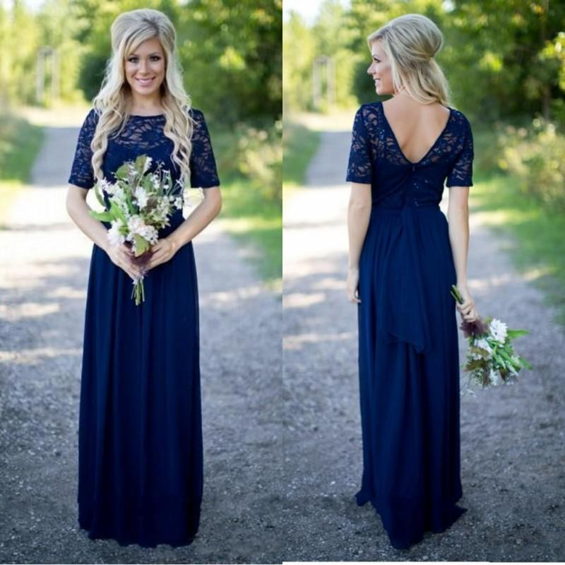 2017 Country Style Bridesmaid Dresses Long For Weddings Navy Blue Chiffon Short Sleeves Illusion Lace Sequin Purple Maid Of Honor Gowns
