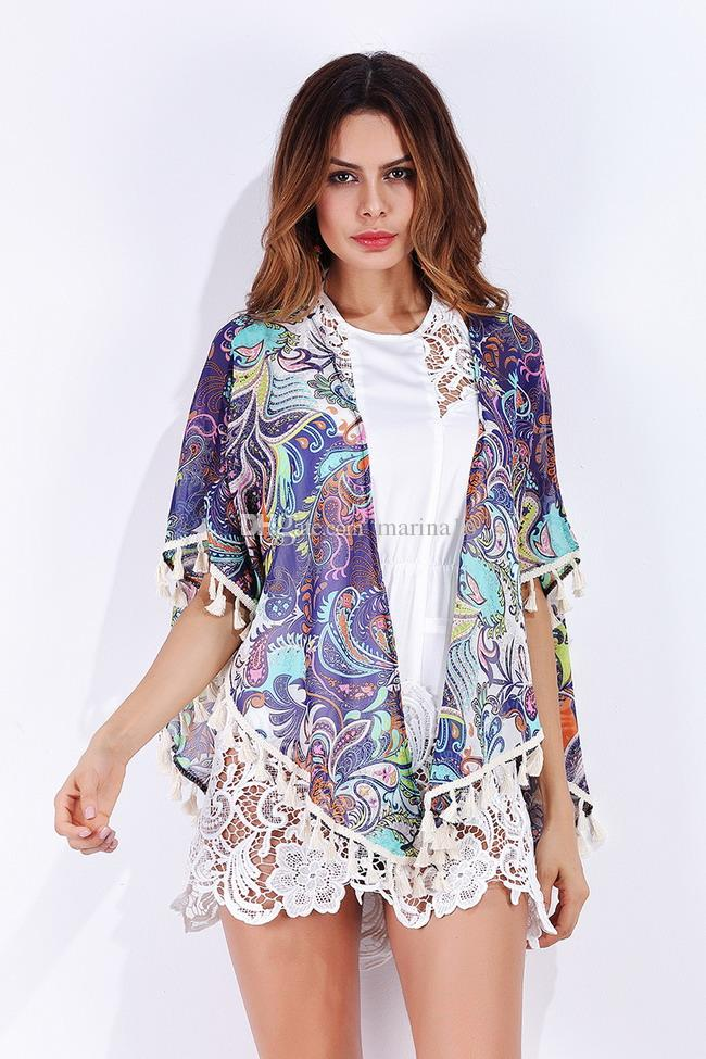 women chiffon cape blouse ponchos top Europe America style new arrival tassel design one free size