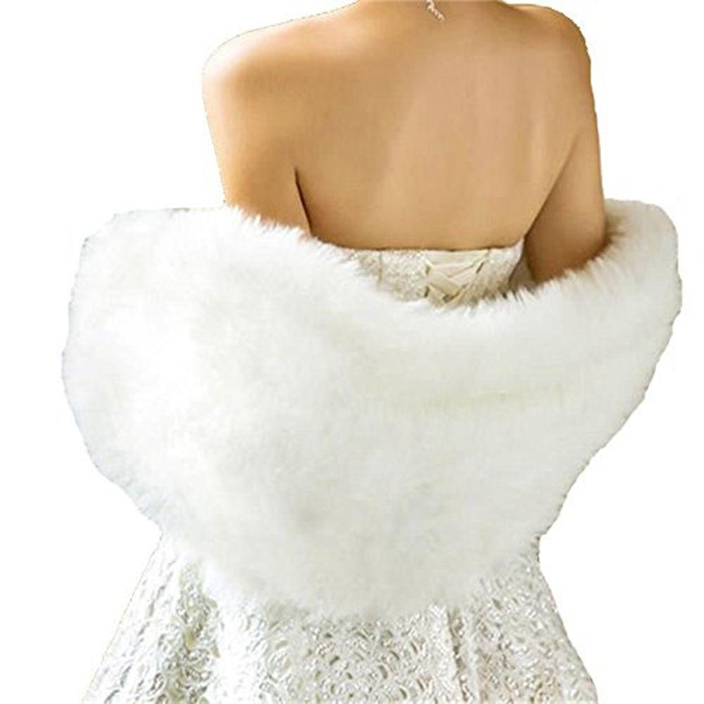 2018 Beyaz Fildişi Gelin Sarar Şal Ceketler Kış Kürk Kadın Ceket Kat Uzunluk Pelerinler Parti Düğün Ceket