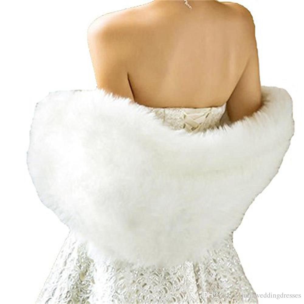 2018 Branco Marfim Nupcial Wraps Xales Jaquetas De Pele De Inverno Mulheres Jaqueta Até O Chão Casacos Do Partido Casaco De Casamento