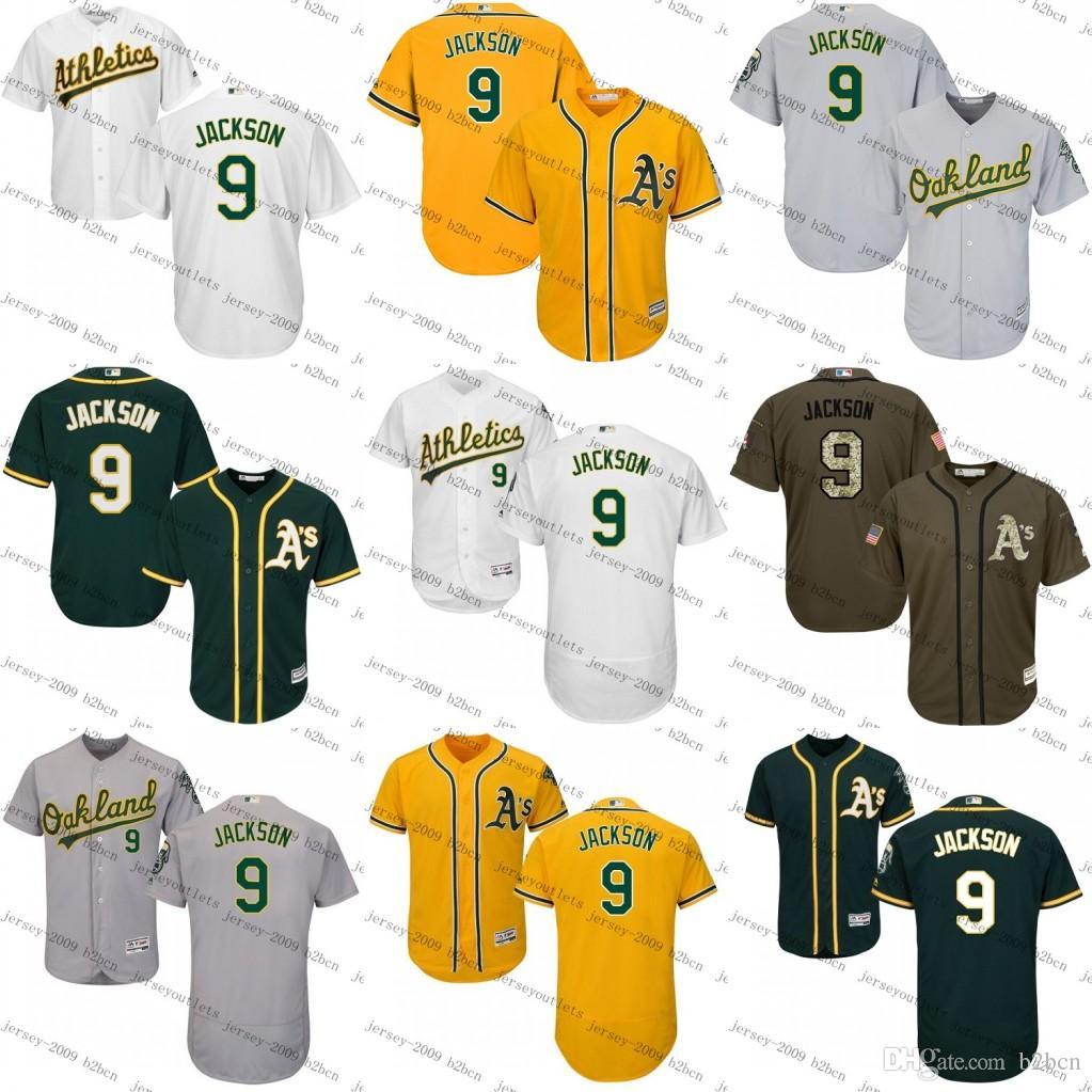 f89c85223861 ... Youthmens Oakland Athletics 9 Reggie Jackson Yellow White Grey GREEN  Flexbase KIDS Cool Base Baseball Jersey ...