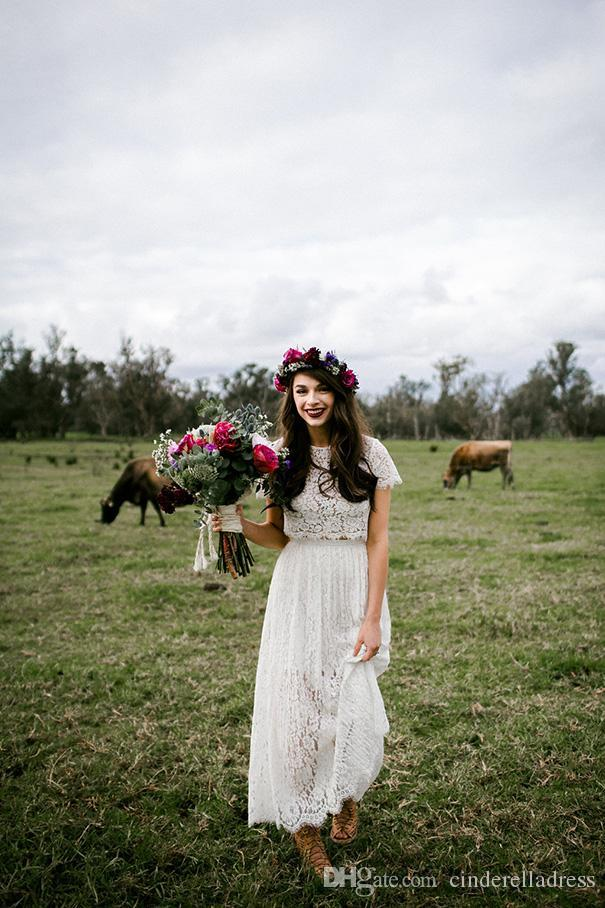 2017 Vestidos De Novia Sheath Bohemian Beach Wedding Dresses Cap Sleeves Two Pieces Full Length Lace White Bridal Gowns Custom Made