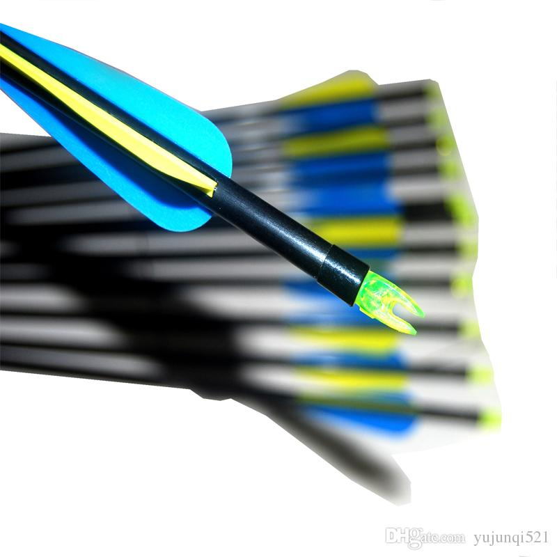 OD 8mm Spine500 with blue yellow Feather Fiberglass Arrow for Recurve Bow Arrow or compound Bow Practice /Hunting