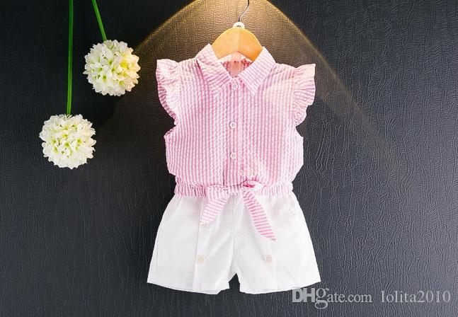 2017 girls light blue/pink summer suits girls short sleeve striped tops T shirts+girls white shorts kids clothes outfit set