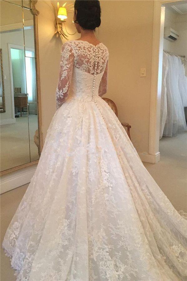 Hot Sale Scoop Neck A-line Lace Wedding Dresses Long Sleeve Appliques Beaded Beautiful Bridal Wedding Gowns For Women vestido de noiva
