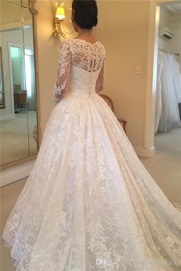 Latest Hot Sale Scoop Neck A-line Long Sleeve Lace Wedding Dresses Button Back Appliques Beaded Bridal Wedding Gowns