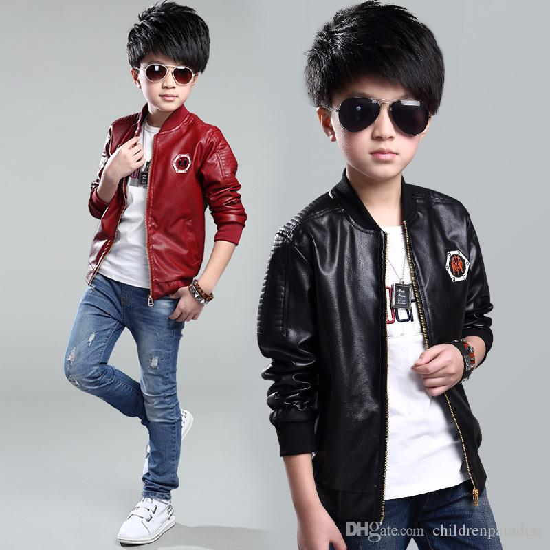 2017 New Baby Boys Leather Jacket Kids Coats Spring Kids Leather