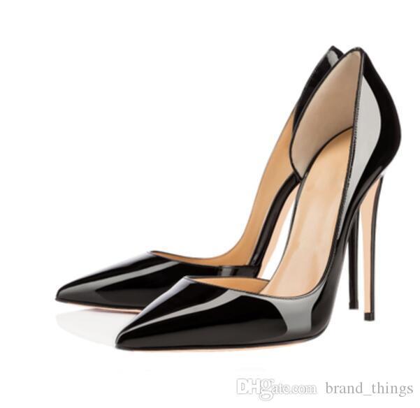 fee65111667cd Compre 2017 Punta Estrecha Zapatos De Tacón Alto Partido Abierto Zapatos De  Cuero Mujer Bombas De Charol Sexy Bombas Vestido Negro Zapatos De Tacón  Delgado ...