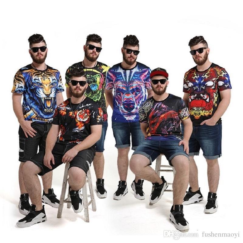 Men's short sleeve T shirt men's shirt Tide brand large size men 2017 summer new trend of personality animal printing t-shirt