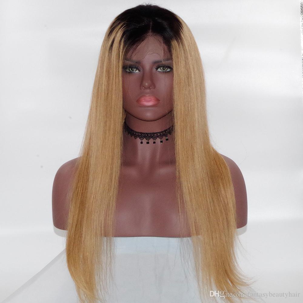 Ombre Blonde # 1B / 99 e parrucca piena del merletto dei capelli umani neri naturali peruvain vergine parrucca del pizzo di densità del 150% dei capelli con i capelli del bambino