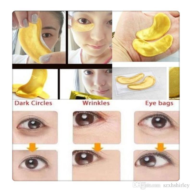 24K Gold Powder Crystal Gel Collagen Eye Masks Anti Aging Crystal 24K Gold Powder Gel Collagen Eye Masks Sheet Patch Christmas Gift