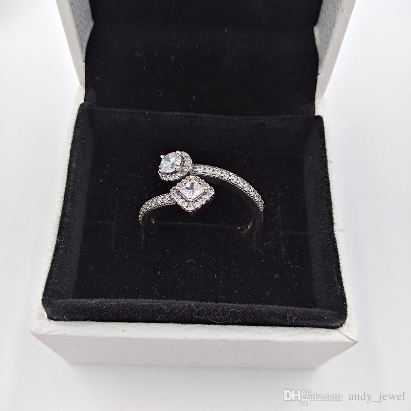 Authentique 925 anneaux en argent sterling Résumé Elegance, Cz Effacer Fits Bijoux Europe Style Pandora Livraison gratuite 191031CZ