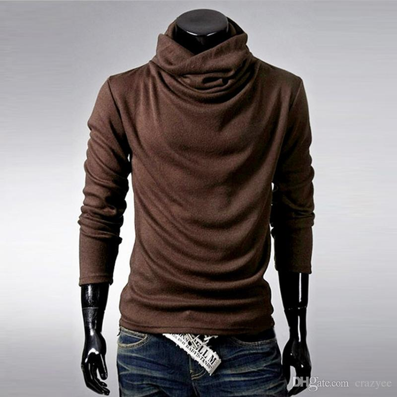 New Men Turtleneck T Shirts Tops Casual Long Sleeve Cotton ...
