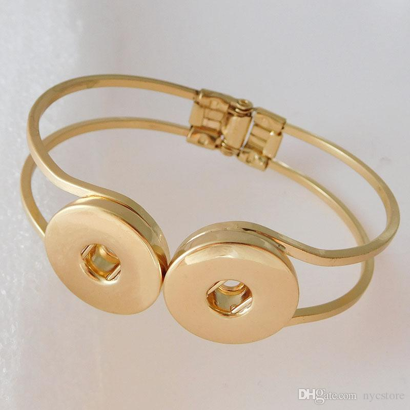 Gold Snap Bangles Silber Überzogene Hohe Qualität DIY Snap Schmuck Doppel Druckknöpfe Noosa Chunk Armbänder 2 Farben Gold und Silber Billig