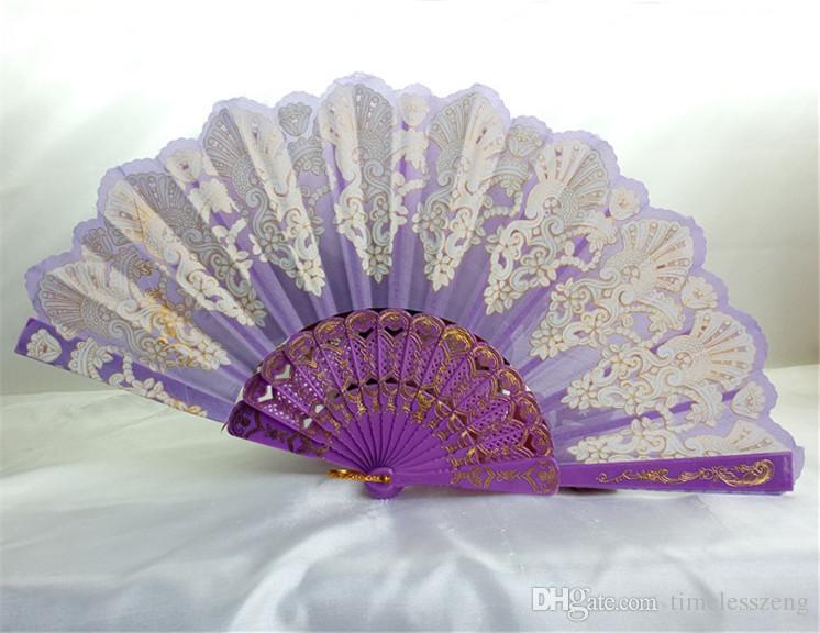 Pavão bonito fã de plástico espanhol ventilador de dobramento de plástico Senhoras fã de dança colorido YongChun fãs de casamento dobrável fãs de rendas