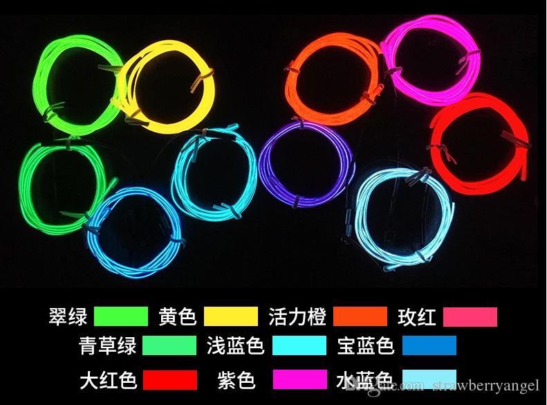 3m flexibles LED-Neonlicht-Glühen EL-Drahtseilrohr-Kabel-Streifen-Schuh-Kleidungs-Autofestdekoratives blau / rot / grün / rosa / gelb / purpurrot / weiß