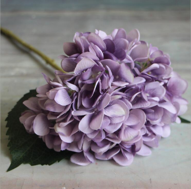 Artificial Hydrangea Flower Head 47cm Fake Silk Single Real Touch Hydrangeas for Wedding Centerpieces Home Party Decorative Flowers