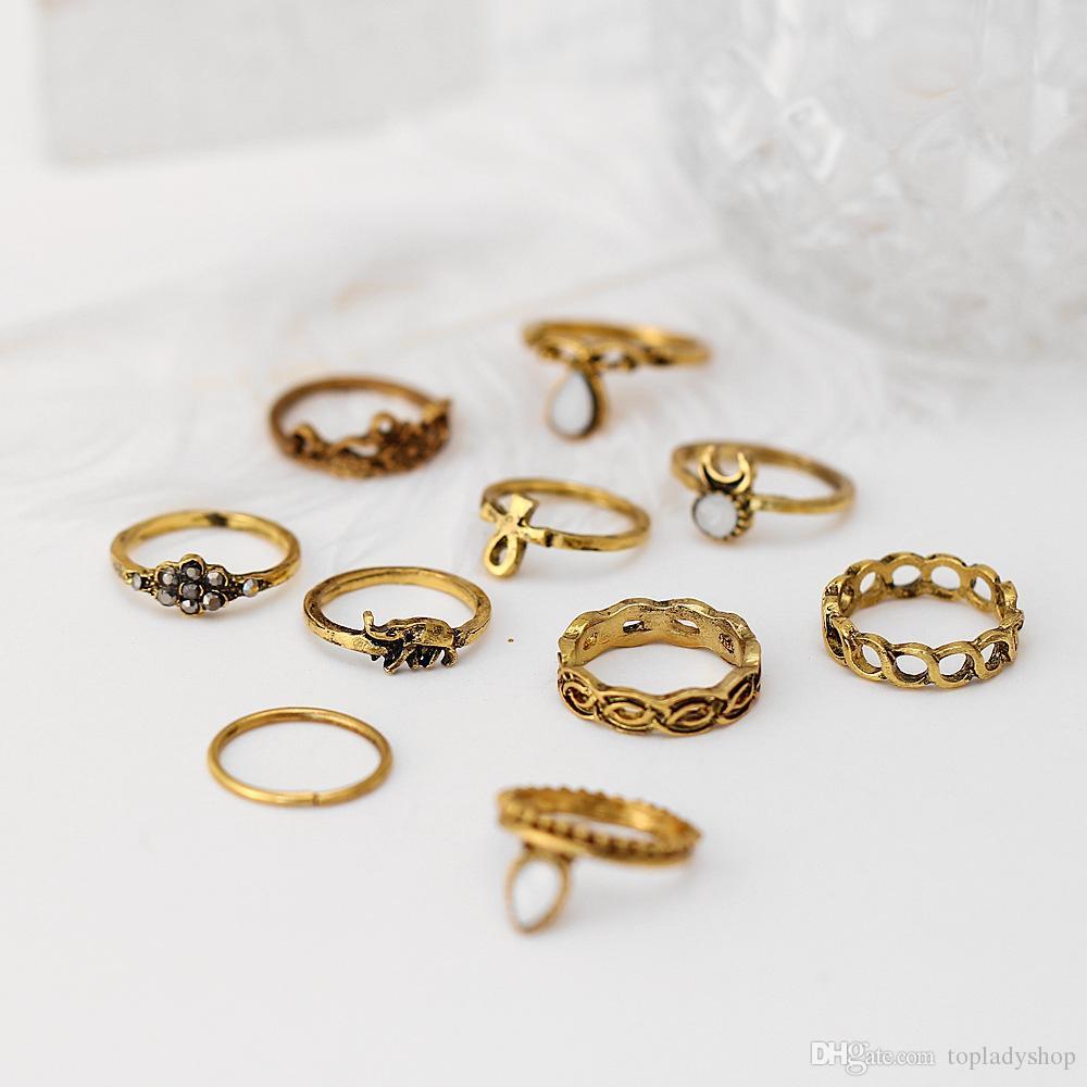 = Retro anillo de afluencia de personas nudo anillo bohemio nacional viento pequeño elefante gema manos whoelsale envío gratis