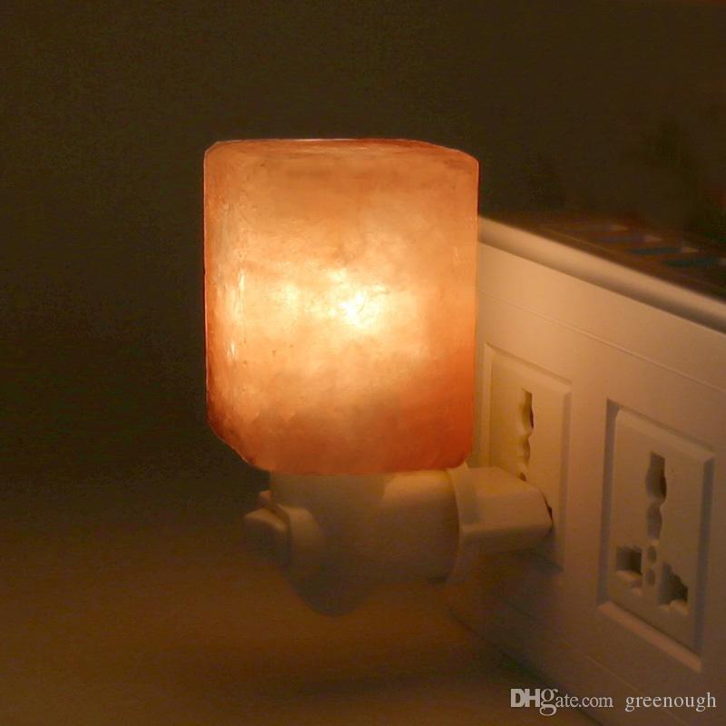 Iluminação Natural sal do Himalaia Night Light Nursery Lâmpada Mini Noite decorativa com purificador de ar com parede plugue redondo e quadrado