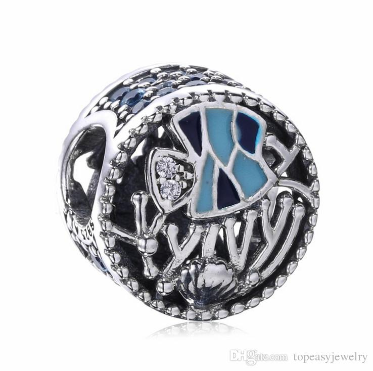 Topeasyjewelry 2017 Summer Collection Blue Enamel Fish charm Beads 925 Sterling Silver beads Fit Brand Bracelets for Women DIY Jewelry
