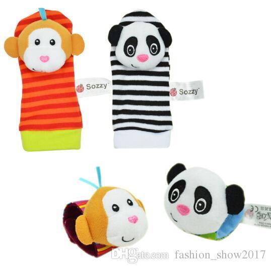 Sozzy sıcak Bebek oyuncak çorap Bebek Oyuncakları Hediye Peluş Bahçe Bug Bilek Çıngırak 3 Stilleri Eğitici Oyuncaklar sevimli parlak renk