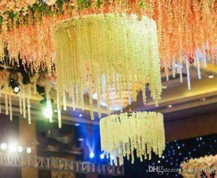 Unique Design Wedding Backdrop Decoration Orchid Flower Silk Wisteria Vine White Artificial Wreaths Shooting Photo Props